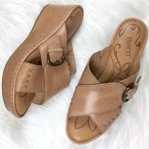 Born tan cross strap wedge sandals